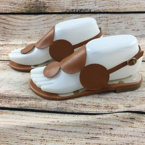 Boden circle sandals tan camel leather 36 6